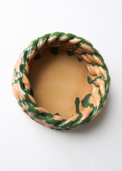 Large 'Anaphi' bowl (clay/green) by CristaSeya