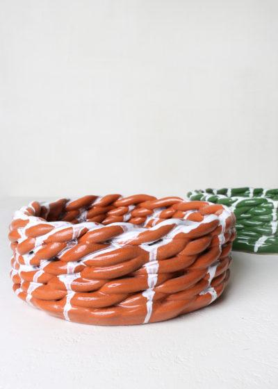 Large 'Anaphi' bowl (ocher/white) by CristaSeya