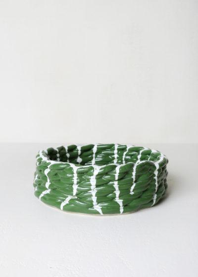 Large 'Anaphi' bowl (green/white) by CristaSeya