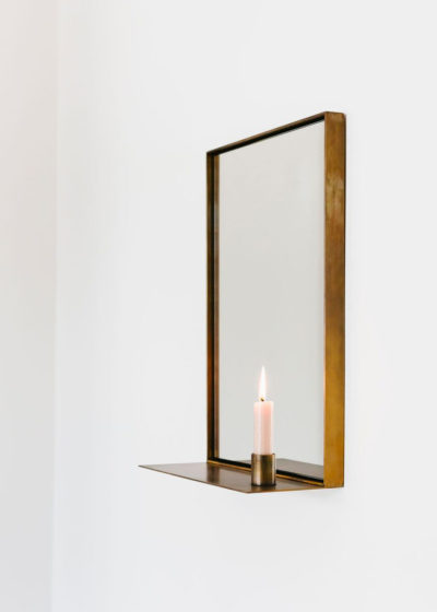 'Georgette' mirror in aged brass by illus