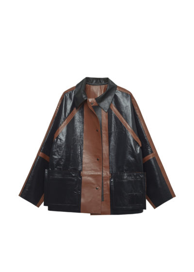 Short reversible leather coat in cognac by KASSL editions