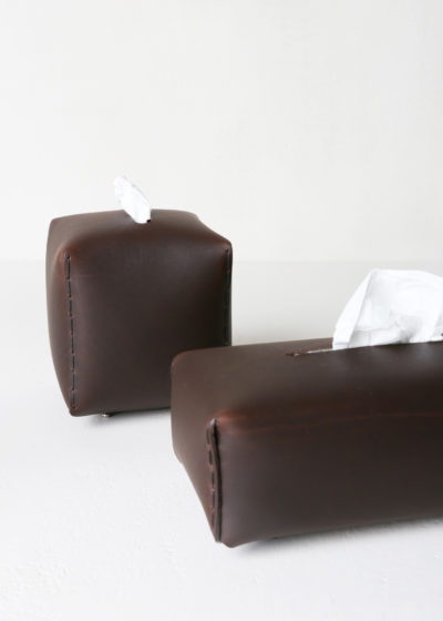 Square leather tissue box (available in 3 colours) by Michaël Verheyden