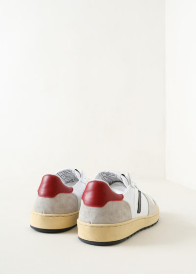 Basketball shoe in white & red by Re/done