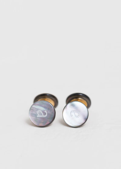 Evening alphabet cufflinks by Samuel Gassmann