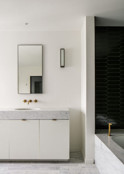 Tall 'Edie' mirror in lacquered steel by illus