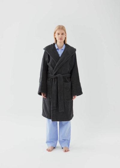 Hooded bathrobe in Ash Black by Tekla Fabrics