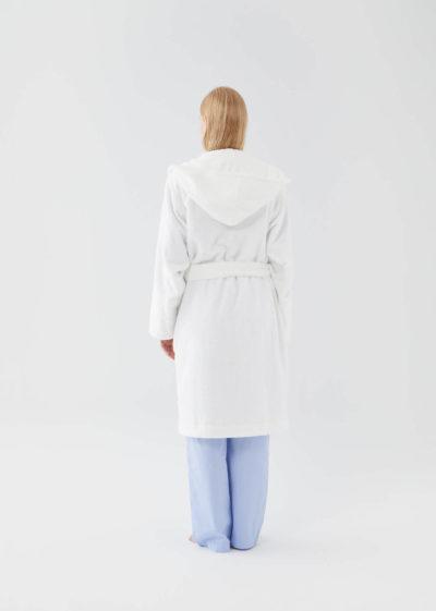 Hooded bathrobe in Snow White by Tekla Fabrics